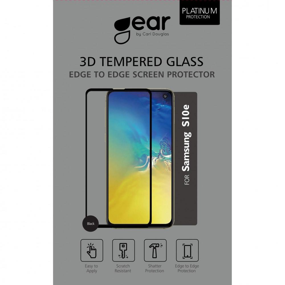 Gear Samsung S10e - Härdat Glas 3D Gum Full Cover Svart