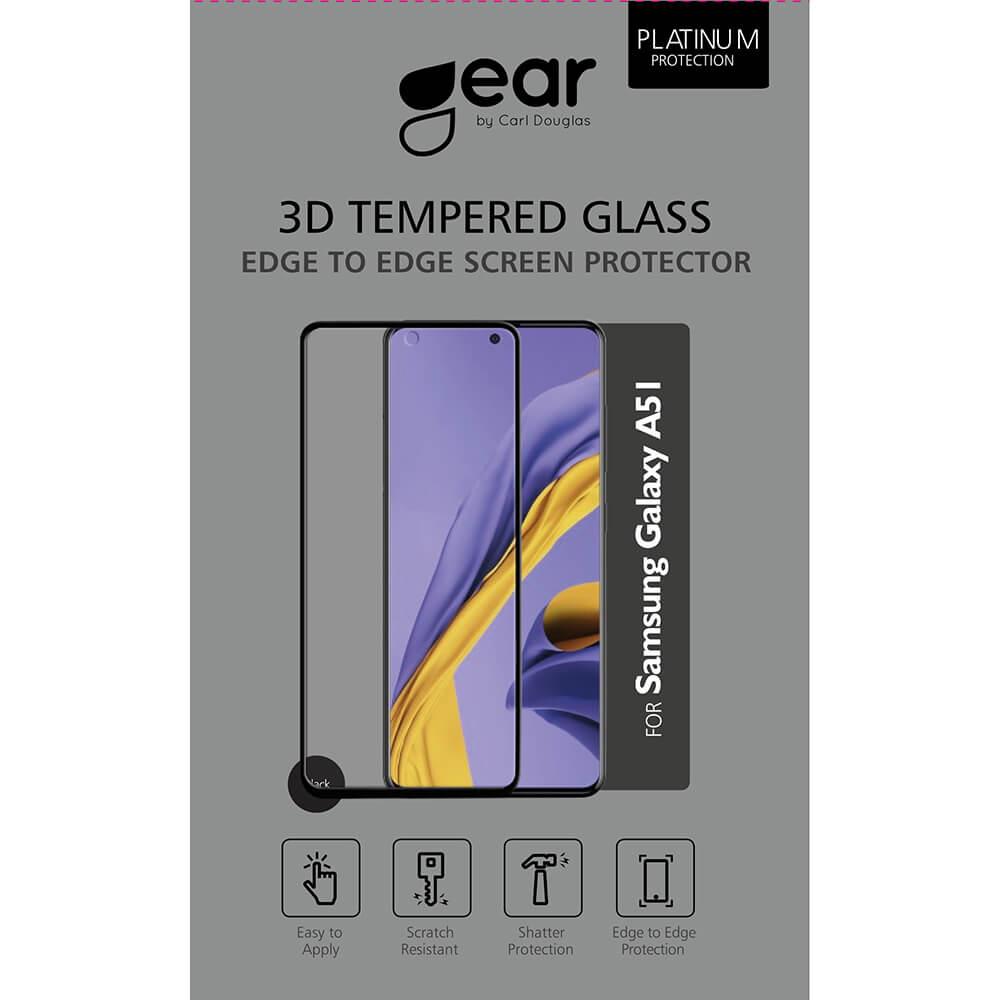 Gear Samsung A51 - Härdat Glas 3D Gum Full Cover Svart