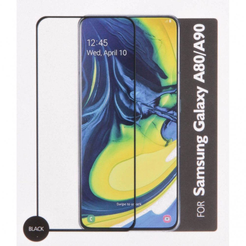 Gear Samsung A80 / A90 2019 - Härdat Glas 2.5D Svart